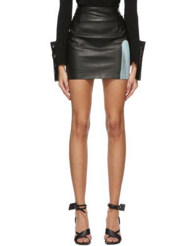 Skórzany czarny spódnica mini prążkowany z obrazem Off-white