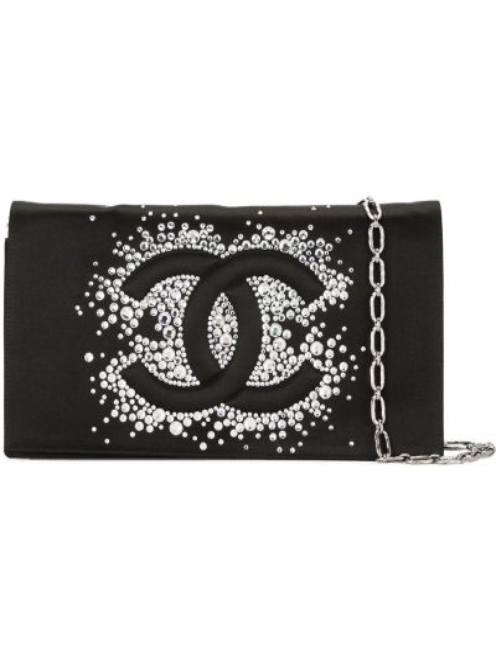 С ремешком черная сумка на цепочке со стразами Chanel Pre-owned
