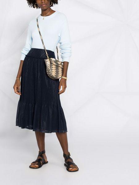 Синяя с завышенной талией юбка миди с оборками See By Chloé