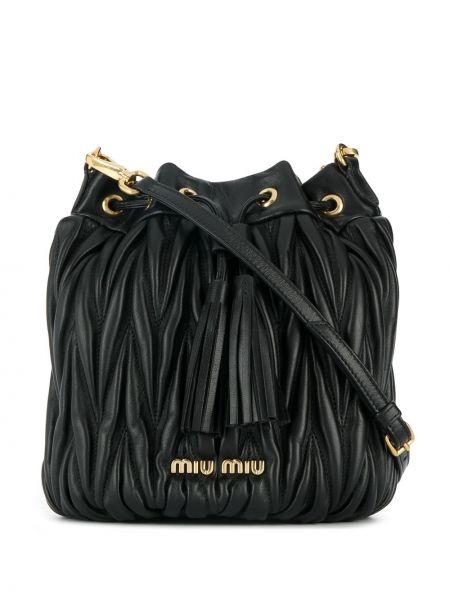 Skórzany torba z logo Miu Miu