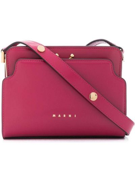С ремешком розовая кожаная сумка на плечо Marni