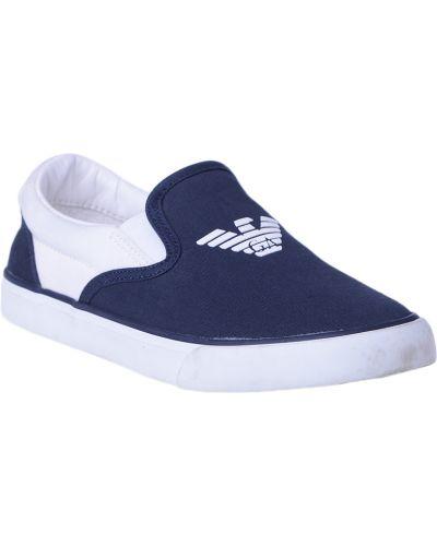 Мокасины синие текстильный Armani Junior