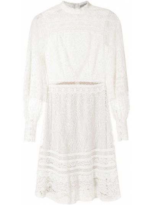 Кружевное с рукавами белое платье мини Martha Medeiros