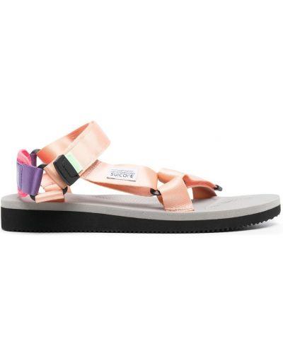 Sandały peep toe - różowe Suicoke