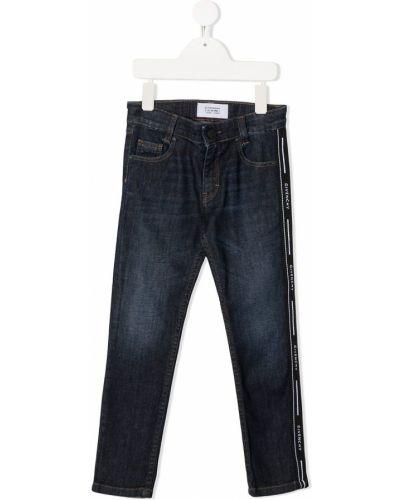 Кожаные джинсы с нашивками на пуговицах Givenchy Kids