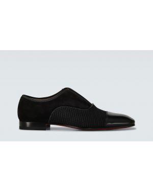 Кожаные туфли черные открытые Christian Louboutin