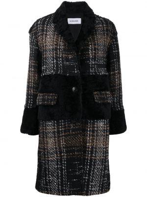 Коричневое шерстяное длинное пальто с мехом Sylvie Schimmel