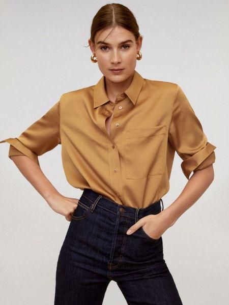 Блузка с длинным рукавом весенний бежевый Mango