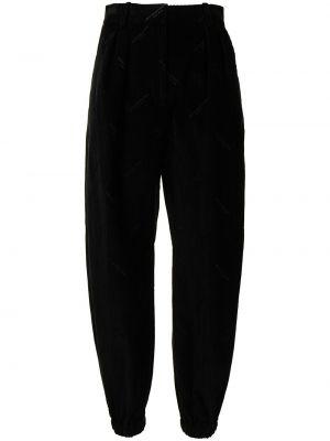 Czarne spodnie z wysokim stanem sztruksowe Alexander Wang