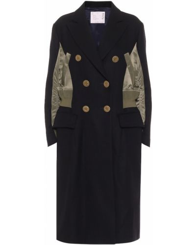 Синее шерстяное пальто двубортное Sacai