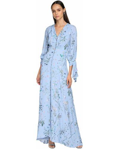 Синее платье миди в цветочный принт с декольте Luisa Beccaria