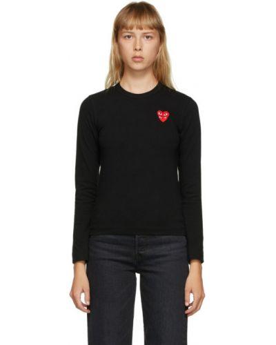 Bawełna czarny koszula z kołnierzem z haftem Comme Des Garcons Play