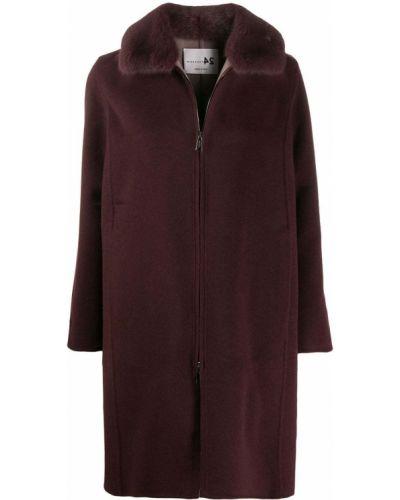 Фиолетовое шерстяное пальто с воротником Manzoni 24