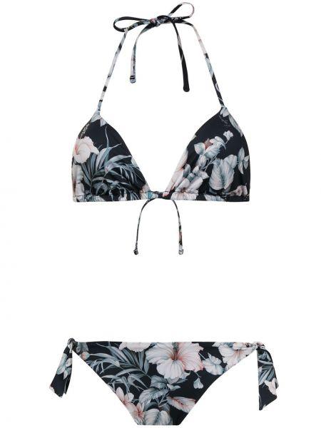 Черный слитный купальник с завязками в цветочный принт Emporio Armani