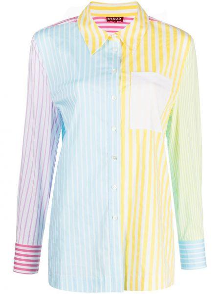 Рубашка с карманами в полоску на пуговицах классическая Staud