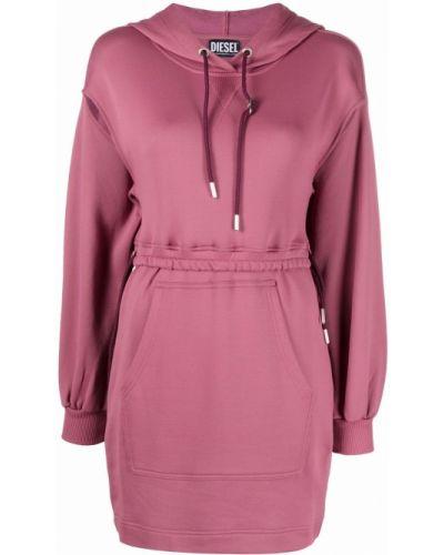 Хлопковое розовое платье макси на шнуровке Diesel