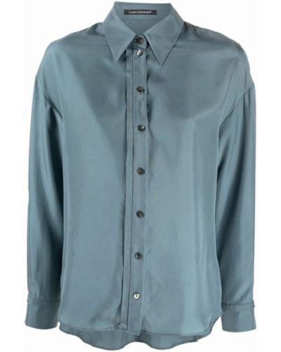 Niebieska koszula z jedwabiu Luisa Cerano