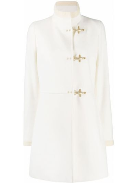 Белое шерстяное длинное пальто с воротником на крючках Fay