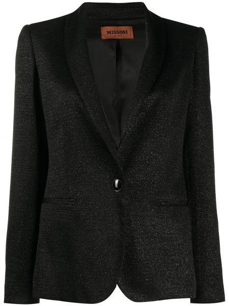 Черный приталенный пиджак с карманами Missoni