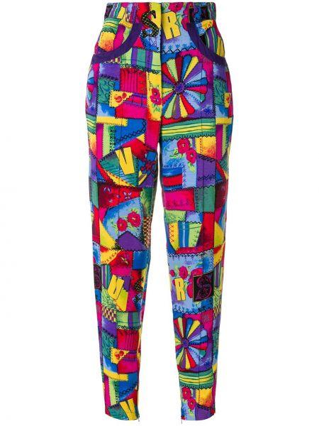Укороченные брюки винтажные с поясом с манжетами скинни Versus Pre-owned