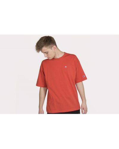 Pomarańczowy t-shirt bawełniany Champion