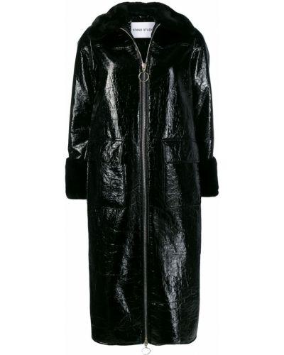 Черное пальто классическое с капюшоном с воротником Stand