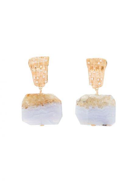 Золотистые серьги-гвоздики золотые с камнями Apples & Figs