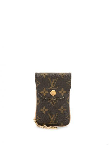 Коричневый золотистый кожаный клатч на цепочке Louis Vuitton