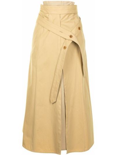 Beżowa spódnica midi z wysokim stanem asymetryczna Lemaire