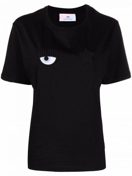 Черная со звездами футболка Chiara Ferragni