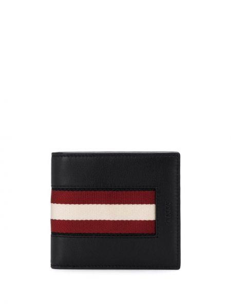 Czarny portfel skórzany w paski Bally
