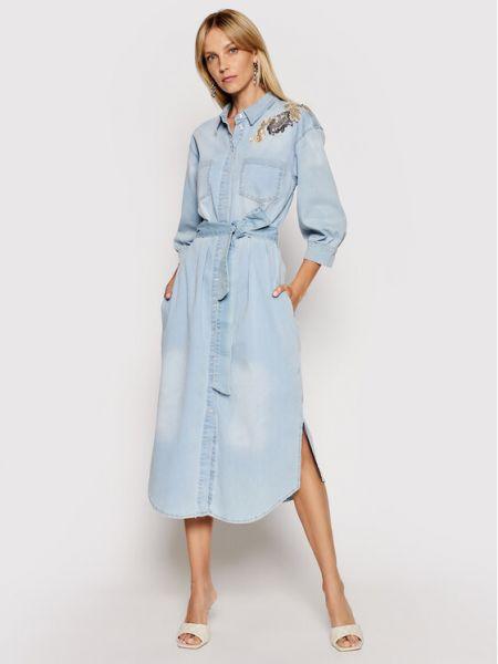 Niebieska sukienka jeansowa Twinset
