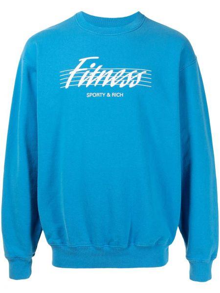Niebieski sweter bawełniany Sporty And Rich