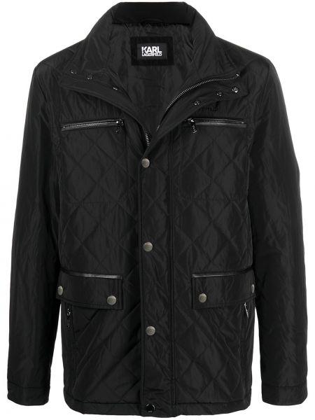 Czarna długa kurtka pikowana z długimi rękawami Karl Lagerfeld