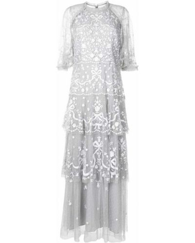 Серое с рукавами платье мини с подкладкой Needle & Thread