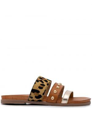 Brązowe złote sandały peep toe Carvela
