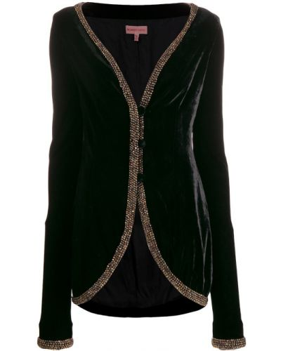 Черная длинная куртка с бисером Romeo Gigli Pre-owned