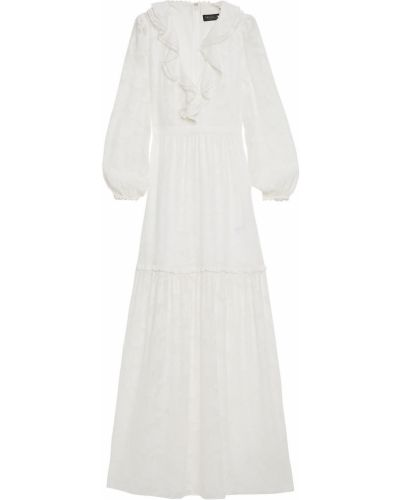 Ażurowa sukienka długa z szyfonu zapinane na guziki Rachel Zoe