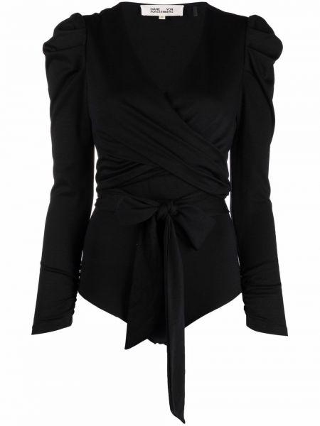 Czarny body z dekoltem w serek Dvf Diane Von Furstenberg