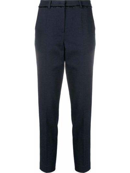 Брючные синие брюки дудочки с карманами Luisa Cerano