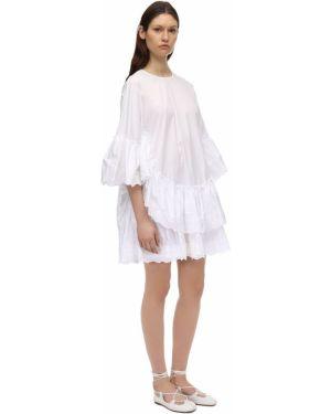 Белое платье мини с декольте из поплина круглое Simone Rocha