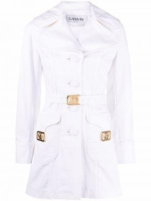 Ватная белая длинная куртка свободного кроя Lanvin