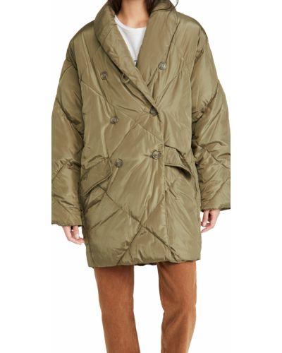 Зеленое длинное пальто двубортное с воротником Free People
