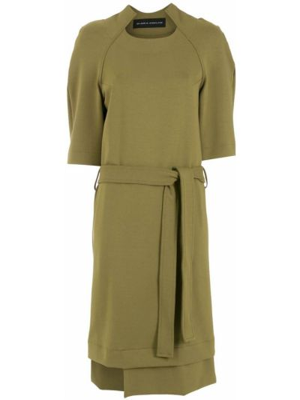 Платье миди с короткими рукавами - зеленое Gloria Coelho