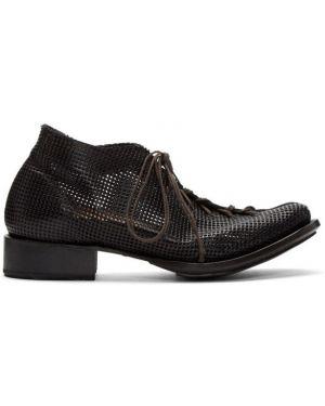 Черные сапоги на высоком каблуке на шнуровке с перфорацией из натуральной кожи Cherevichkiotvichki