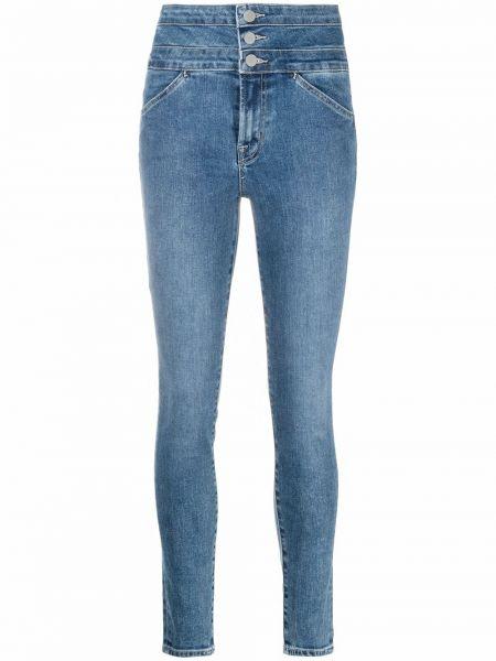Ватные хлопковые синие с завышенной талией джинсы с высокой посадкой J Brand