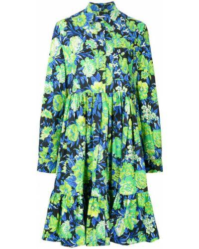 Платье рубашка с цветочным принтом на пуговицах Msgm
