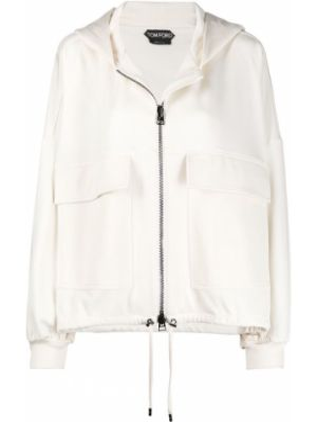 Свободная куртка с капюшоном мятная с манжетами на молнии Tom Ford