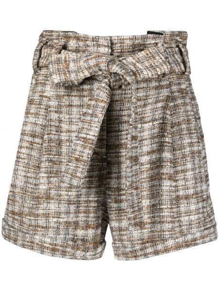 Коричневые хлопковые шорты с карманами Amen.