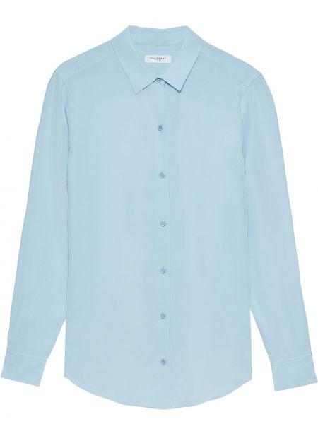 Шелковая синяя классическая рубашка с воротником на пуговицах Equipment
